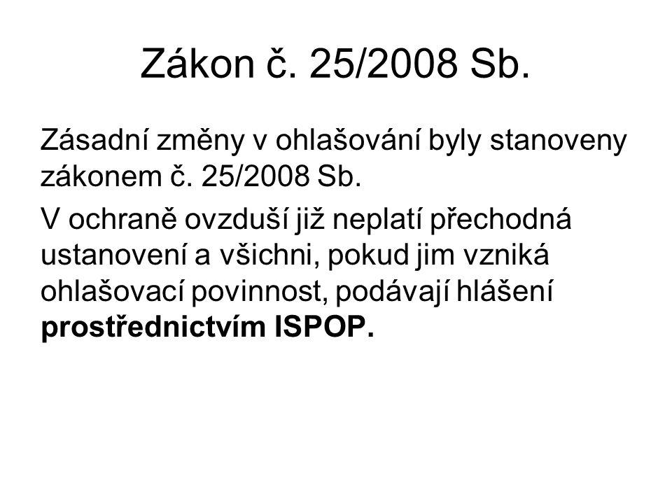 Zákon č. 25/2008 Sb. Zásadní změny v ohlašování byly stanoveny zákonem č.