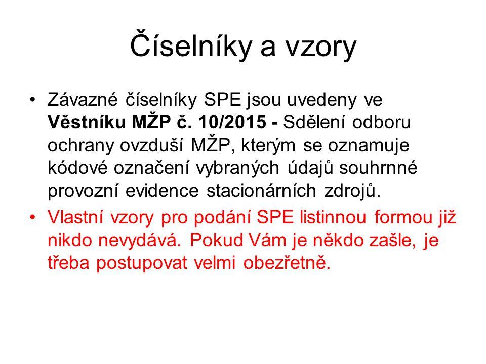 Číselníky a vzory Závazné číselníky SPE jsou uvedeny ve Věstníku MŽP č.
