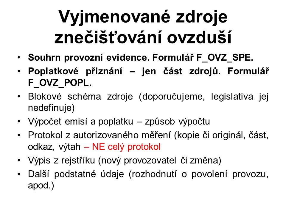 Náležitosti vázané na povinnost zjišťování úrovně znečišťování: Zákon č.