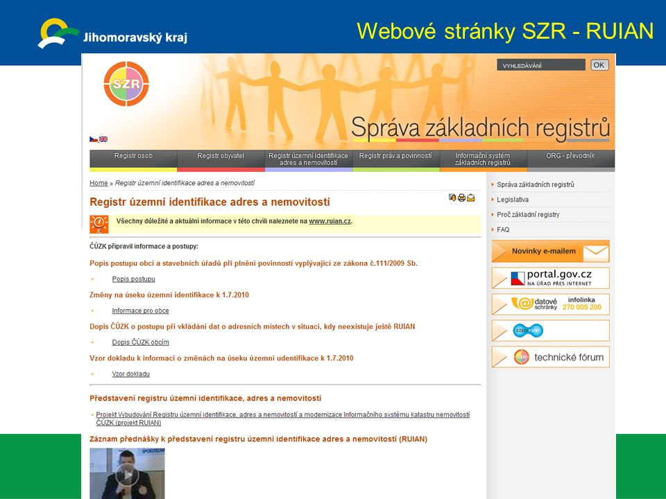 Webové stránky SZR - RUIAN