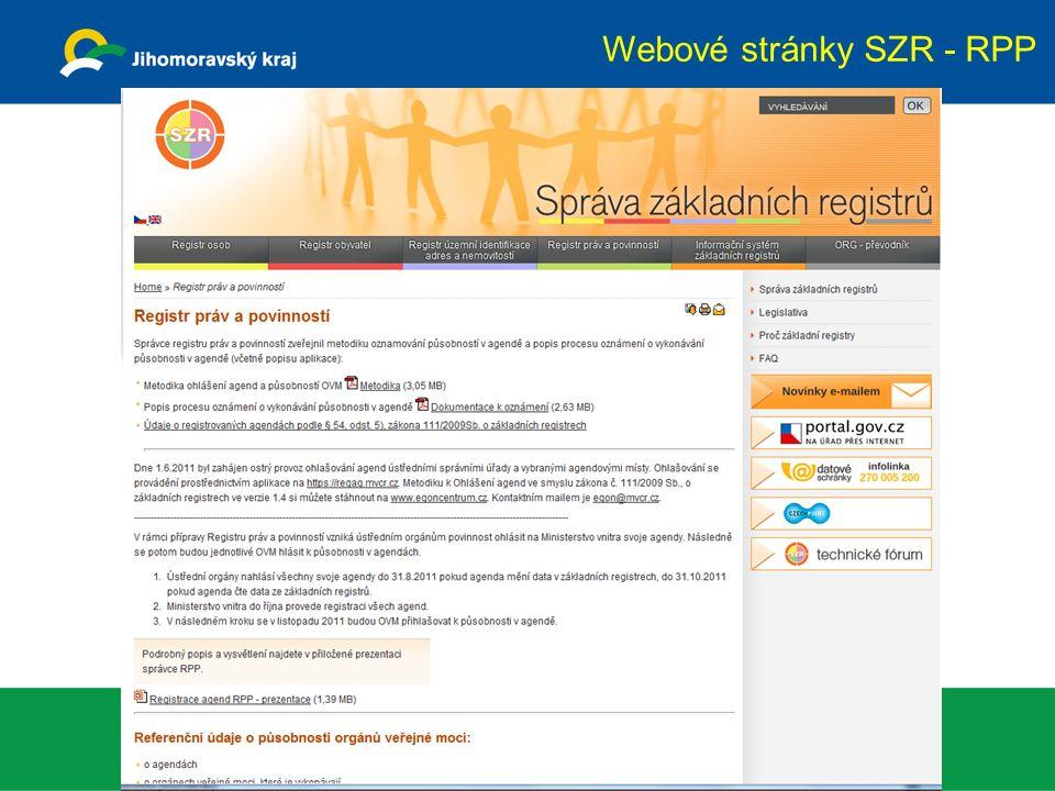 Webové stránky SZR - RPP