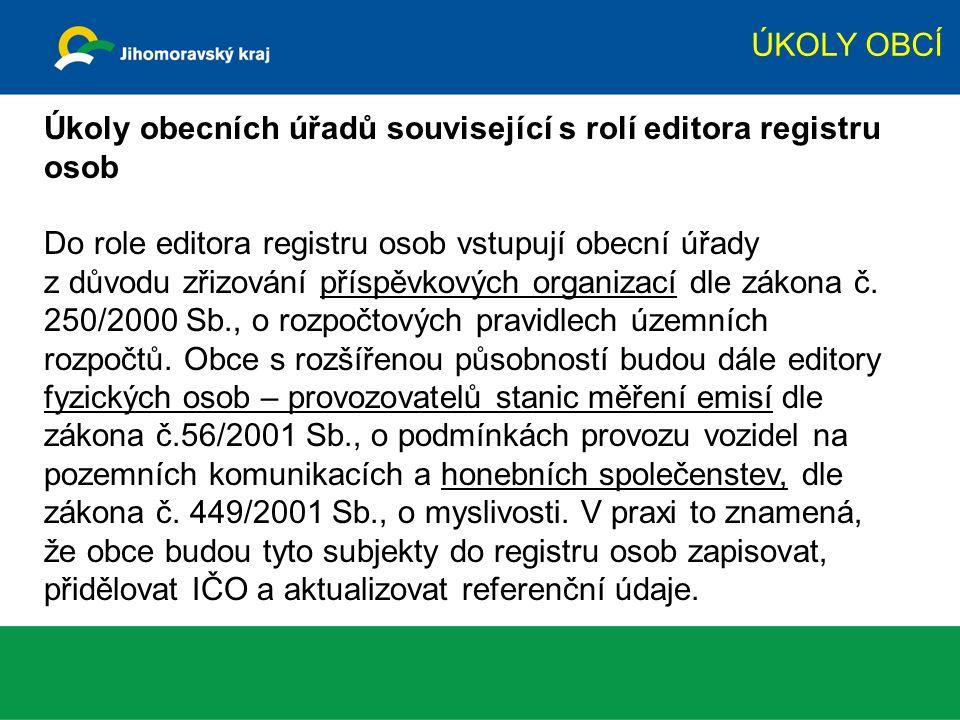 ÚKOLY OBCÍ Úkoly obecních úřadů související s rolí editora registru osob Do role editora registru osob vstupují obecní úřady z důvodu zřizování příspě