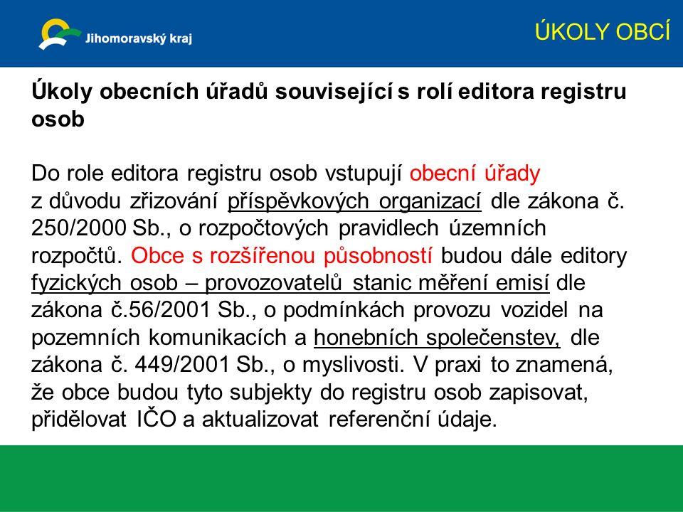 Úkoly obecních úřadů související s rolí editora registru osob Do role editora registru osob vstupují obecní úřady z důvodu zřizování příspěvkových org