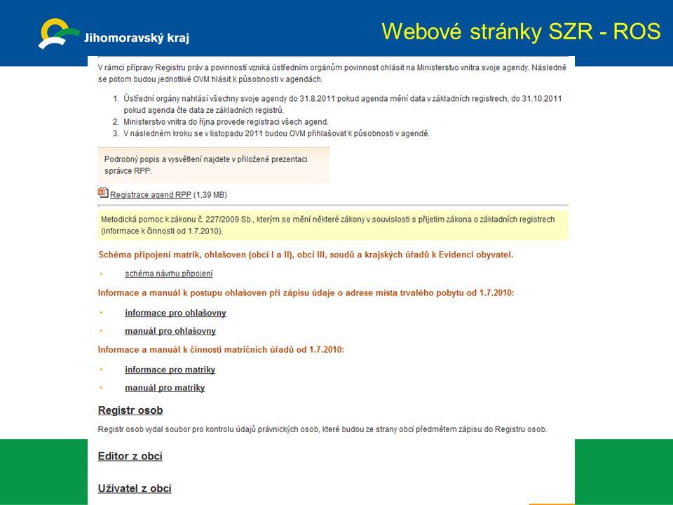 Webové stránky SZR - ROS