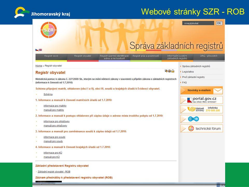 Webové stránky SZR - ROB