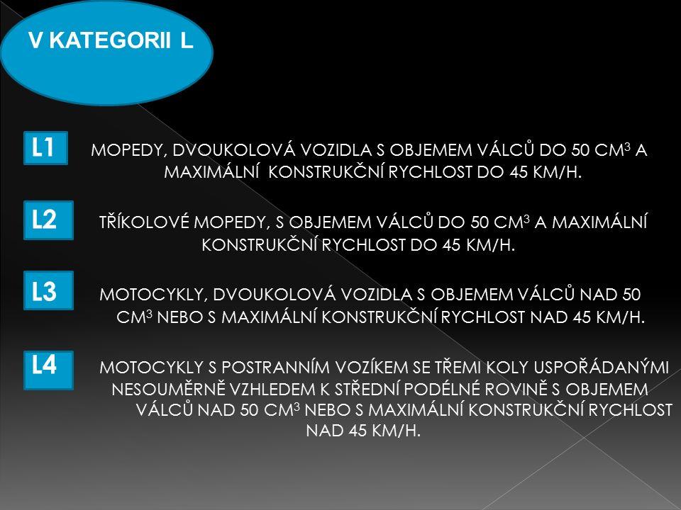 V KATEGORII L L1 MOPEDY, DVOUKOLOVÁ VOZIDLA S OBJEMEM VÁLCŮ DO 50 CM 3 A MAXIMÁLNÍ KONSTRUKČNÍ RYCHLOST DO 45 KM/H.