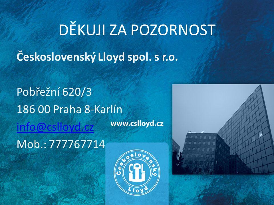 DĚKUJI ZA POZORNOST Československý Lloyd spol.s r.o.