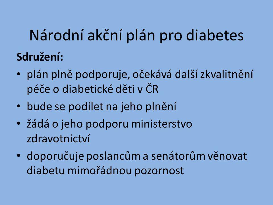 Národní akční plán pro diabetes Sdružení: plán plně podporuje, očekává další zkvalitnění péče o diabetické děti v ČR bude se podílet na jeho plnění žá