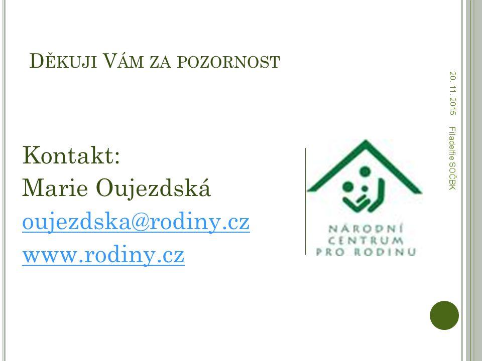 D ĚKUJI V ÁM ZA POZORNOST Kontakt: Marie Oujezdská oujezdska@rodiny.cz www.rodiny.cz 20. 11. 2015 Filadelfie SOČBK