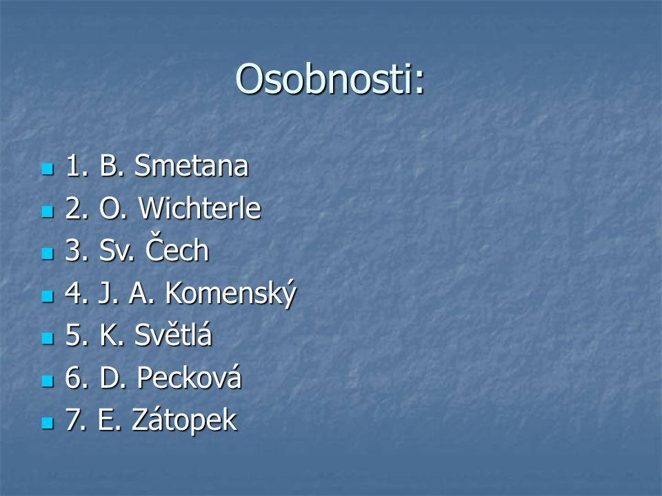 Osobnosti: 1. B. Smetana 1. B. Smetana 2. O. Wichterle 2. O. Wichterle 3. Sv. Čech 3. Sv. Čech 4. J. A. Komenský 4. J. A. Komenský 5. K. Světlá 5. K.