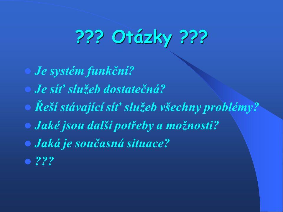 ??.Otázky ??. Je systém funkční. Je síť služeb dostatečná.