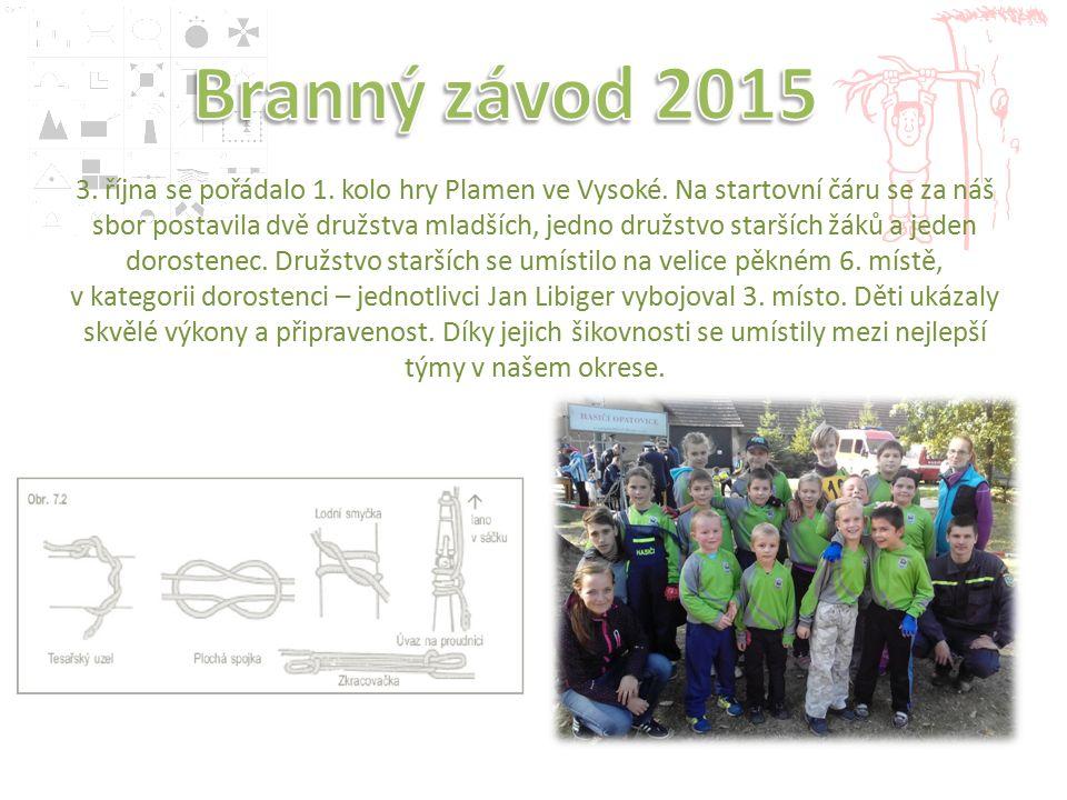 3. října se pořádalo 1. kolo hry Plamen ve Vysoké.