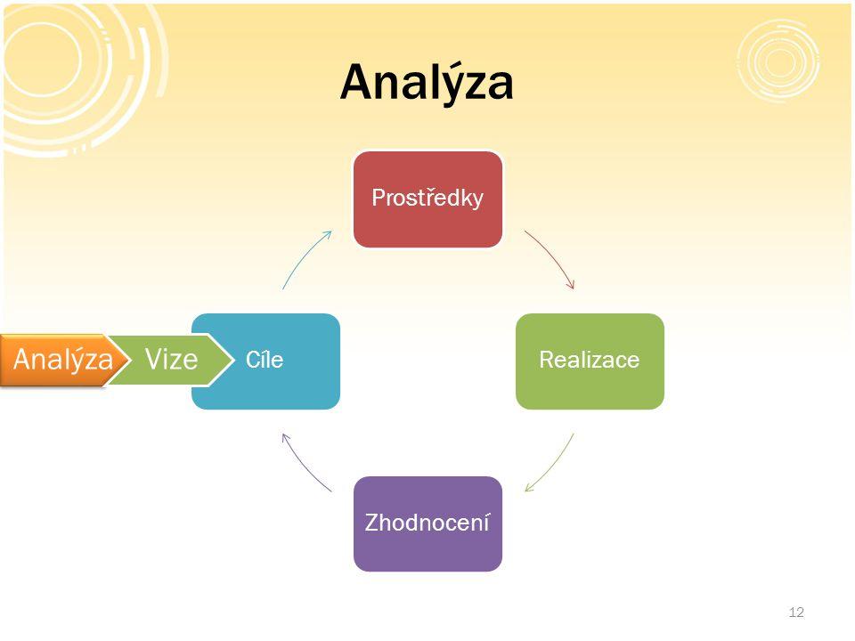 Analýza 12 ProstředkyRealizaceZhodnoceníCíle AnalýzaVize