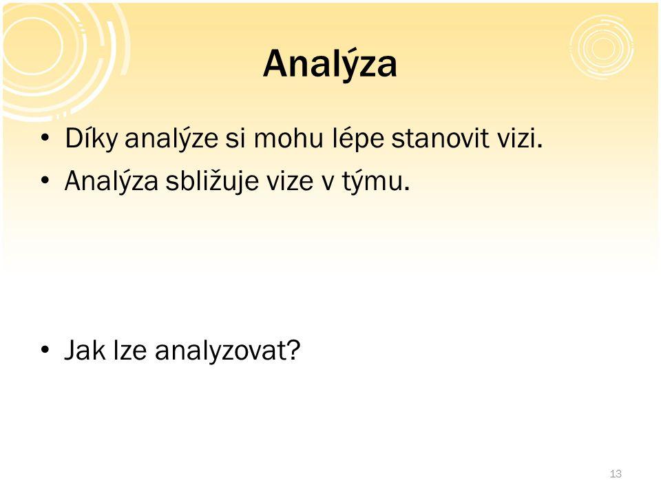 Analýza Díky analýze si mohu lépe stanovit vizi. Analýza sbližuje vize v týmu. Jak lze analyzovat? 13