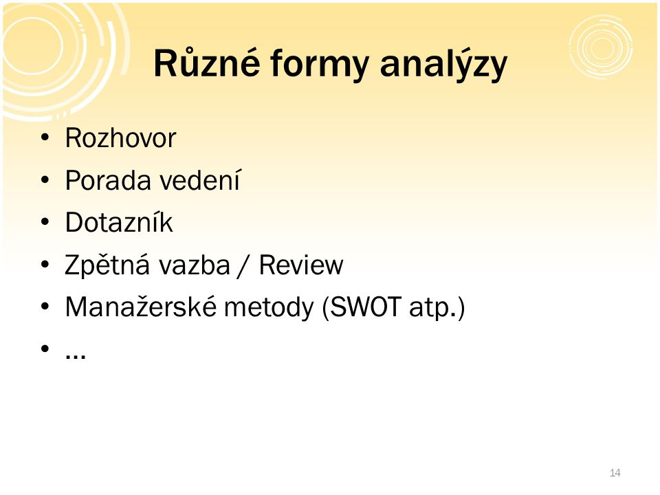 Různé formy analýzy Rozhovor Porada vedení Dotazník Zpětná vazba / Review Manažerské metody (SWOT atp.)... 14