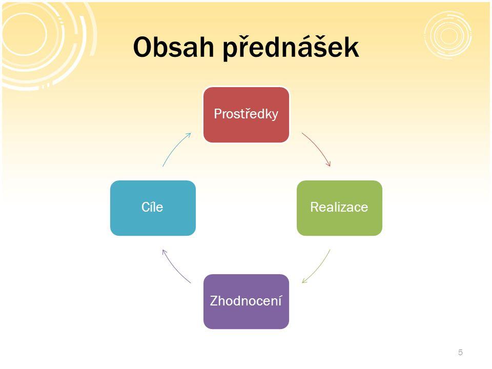 Obsah přednášek ProstředkyRealizaceZhodnoceníCíle 5