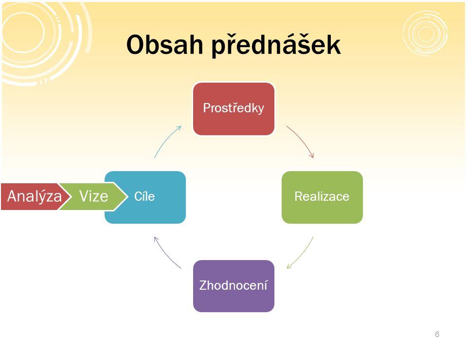 Obsah přednášek 6 ProstředkyRealizaceZhodnoceníCíle AnalýzaVize