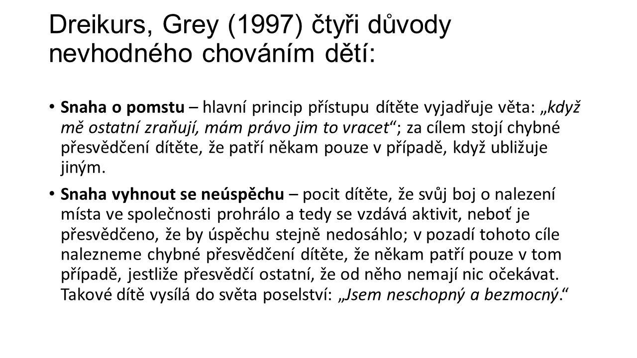 """Dreikurs, Grey (1997) čtyři důvody nevhodného chováním dětí: Snaha o pomstu – hlavní princip přístupu dítěte vyjadřuje věta: """"když mě ostatní zraňují, mám právo jim to vracet ; za cílem stojí chybné přesvědčení dítěte, že patří někam pouze v případě, když ubližuje jiným."""