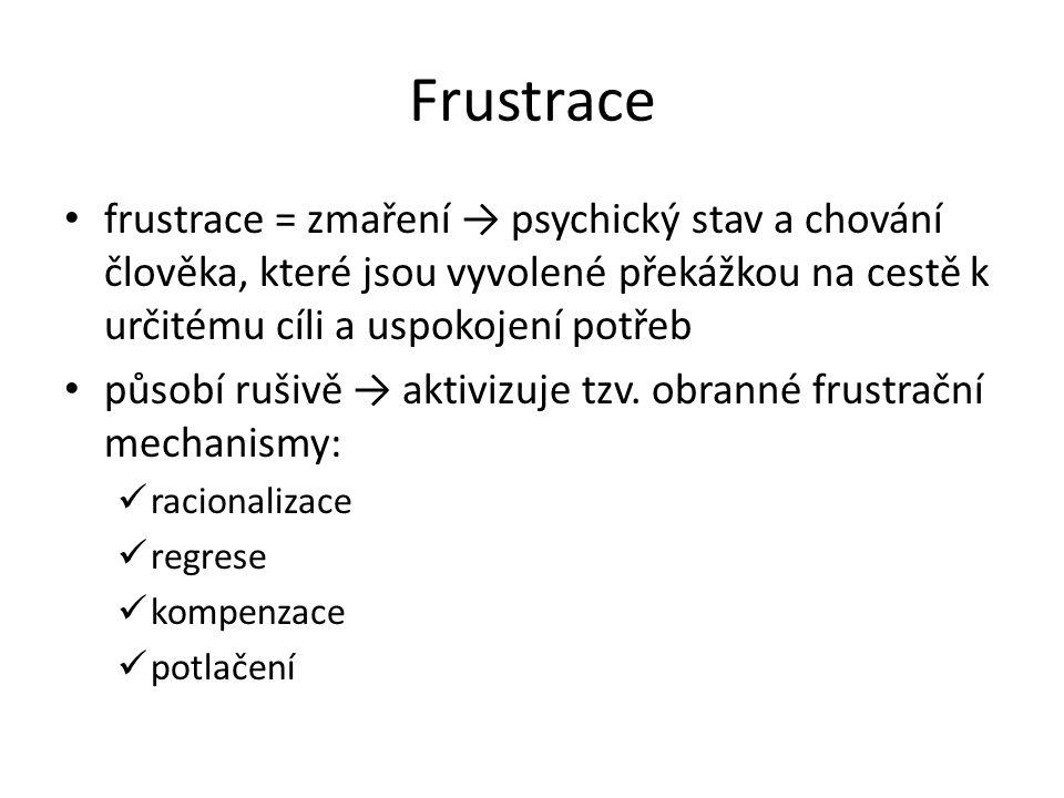 Frustrace frustrace = zmaření → psychický stav a chování člověka, které jsou vyvolené překážkou na cestě k určitému cíli a uspokojení potřeb působí rušivě → aktivizuje tzv.