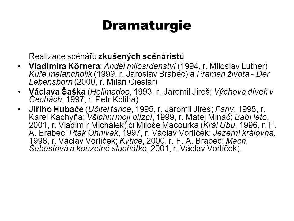 Dramaturgie Realizace scénářů zkušených scénáristů Vladimíra Körnera: Anděl milosrdenství (1994, r. Miloslav Luther) Kuře melancholik (1999, r. Jarosl
