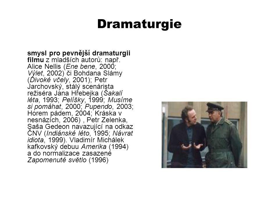 Dramaturgie smysl pro pevnější dramaturgii filmu z mladších autorů: např. Alice Nellis (Ene bene, 2000; Výlet, 2002) či Bohdana Slámy (Divoké včely, 2