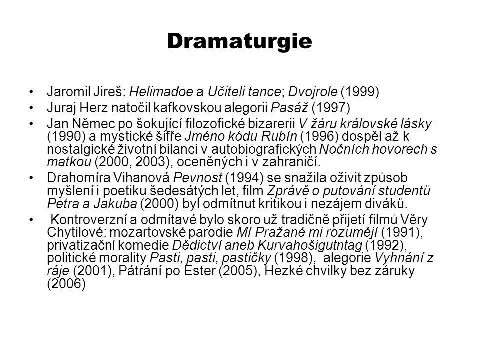 Dramaturgie Jaromil Jireš: Helimadoe a Učiteli tance; Dvojrole (1999) Juraj Herz natočil kafkovskou alegorii Pasáž (1997) Jan Němec po šokující filozo