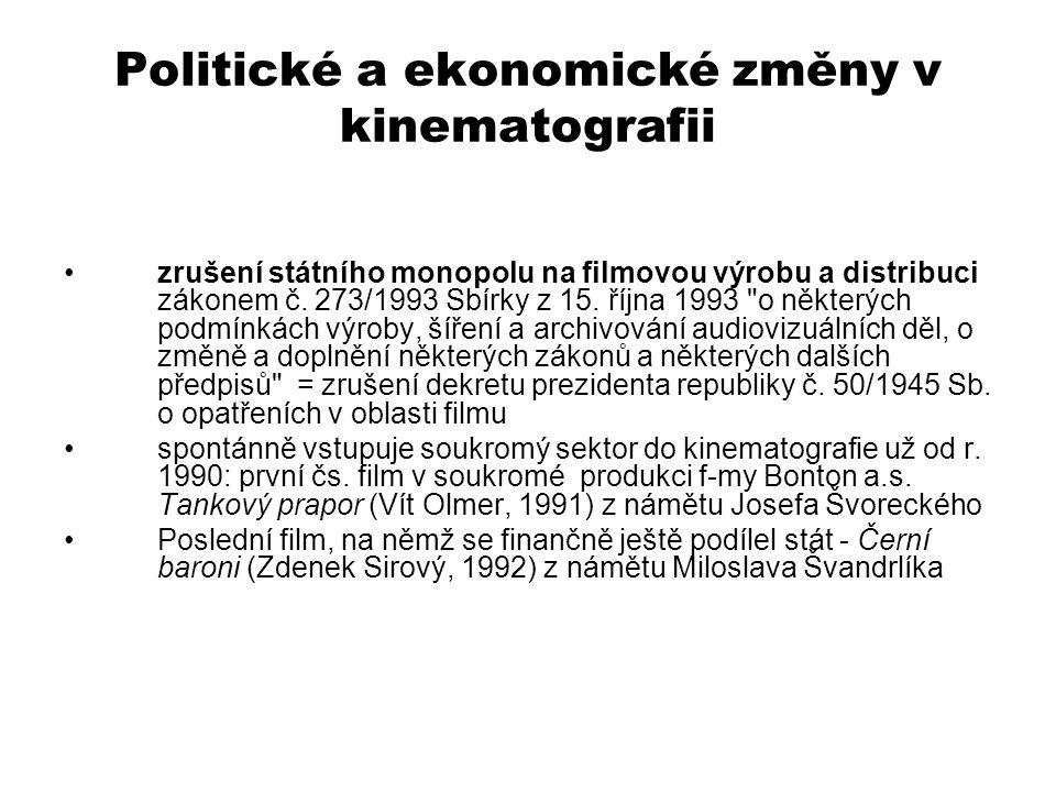 Politické a ekonomické změny v kinematografii zrušení státního monopolu na filmovou výrobu a distribuci zákonem č. 273/1993 Sbírky z 15. října 1993