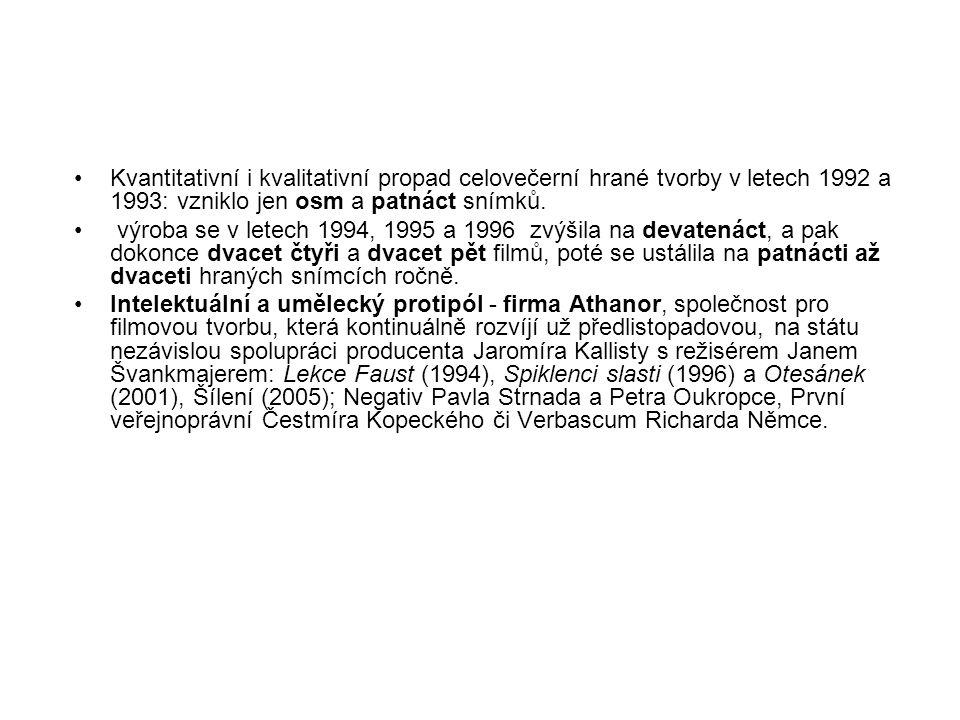 Kvantitativní i kvalitativní propad celovečerní hrané tvorby v letech 1992 a 1993: vzniklo jen osm a patnáct snímků.