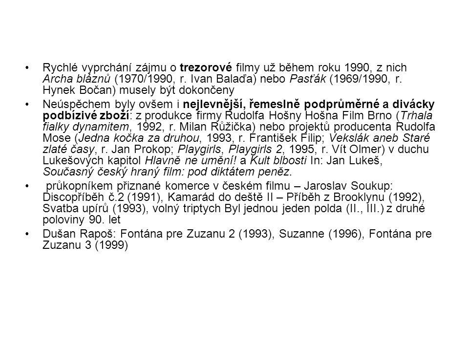 Dramaturgie Jaromil Jireš: Helimadoe a Učiteli tance; Dvojrole (1999) Juraj Herz natočil kafkovskou alegorii Pasáž (1997) Jan Němec po šokující filozofické bizarerii V žáru královské lásky (1990) a mystické šifře Jméno kódu Rubín (1996) dospěl až k nostalgické životní bilanci v autobiografických Nočních hovorech s matkou (2000, 2003), oceněných i v zahraničí.