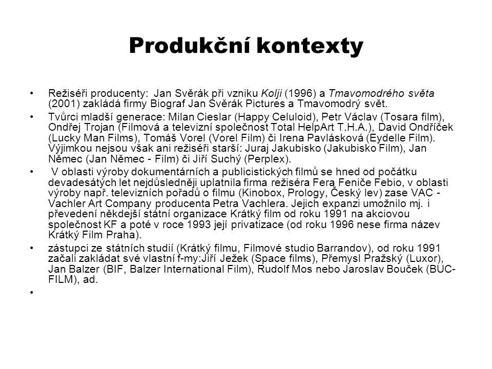 Produkční kontexty Režiséři producenty: Jan Svěrák při vzniku Kolji (1996) a Tmavomodrého světa (2001) zakládá firmy Biograf Jan Svěrák Pictures a Tma