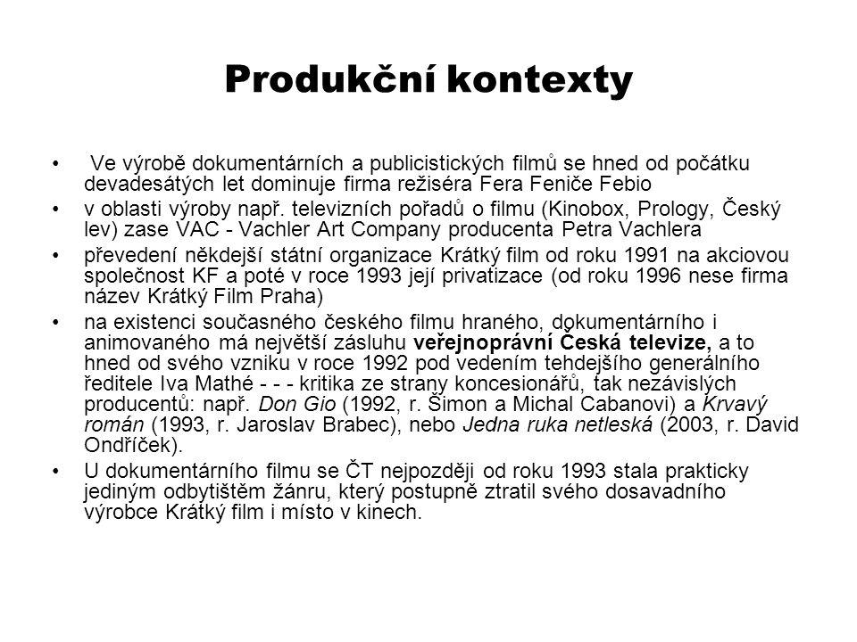 Produkční kontexty Ve výrobě dokumentárních a publicistických filmů se hned od počátku devadesátých let dominuje firma režiséra Fera Feniče Febio v ob