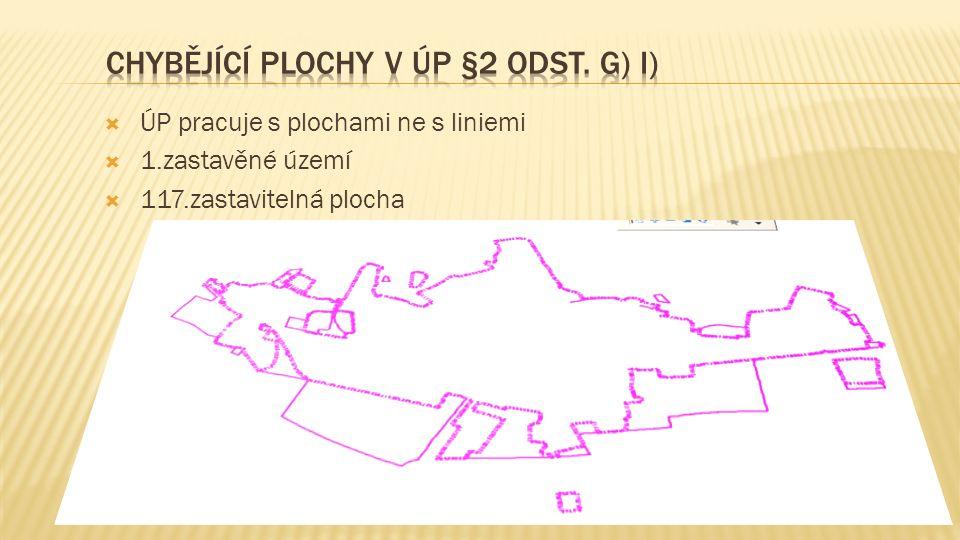  ÚP pracuje s plochami ne s liniemi  1.zastavěné území  117.zastavitelná plocha