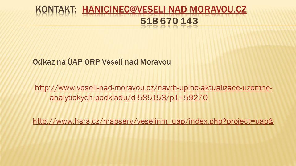 Odkaz na ÚAP ORP Veselí nad Moravou http://www.veseli-nad-moravou.cz/navrh-uplne-aktualizace-uzemne- analytickych-podkladu/d-585158/p1=59270 http://www.hsrs.cz/mapserv/veselinm_uap/index.php project=uap&