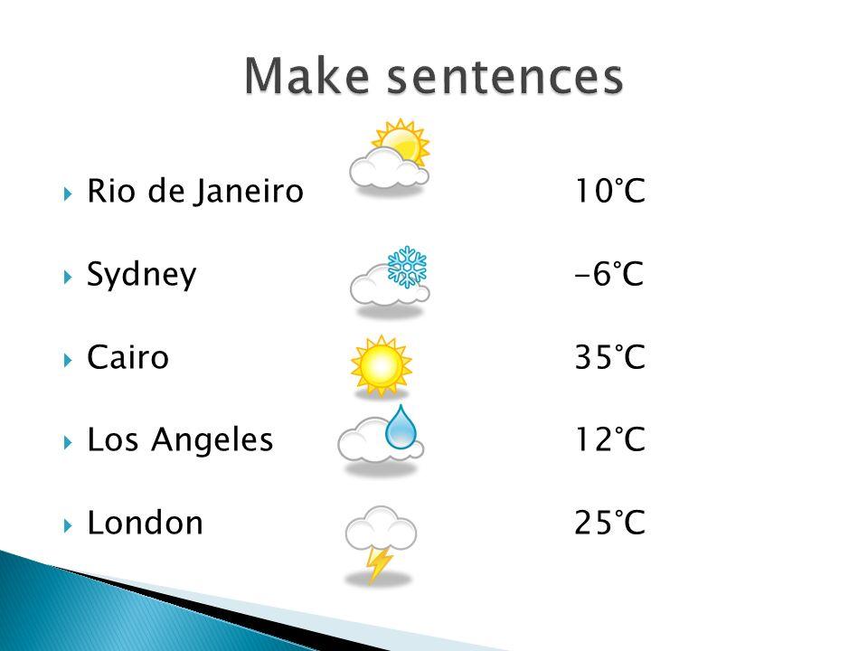  Rio de Janeiro10°C  Sydney-6°C  Cairo35°C  Los Angeles12°C  London25°C