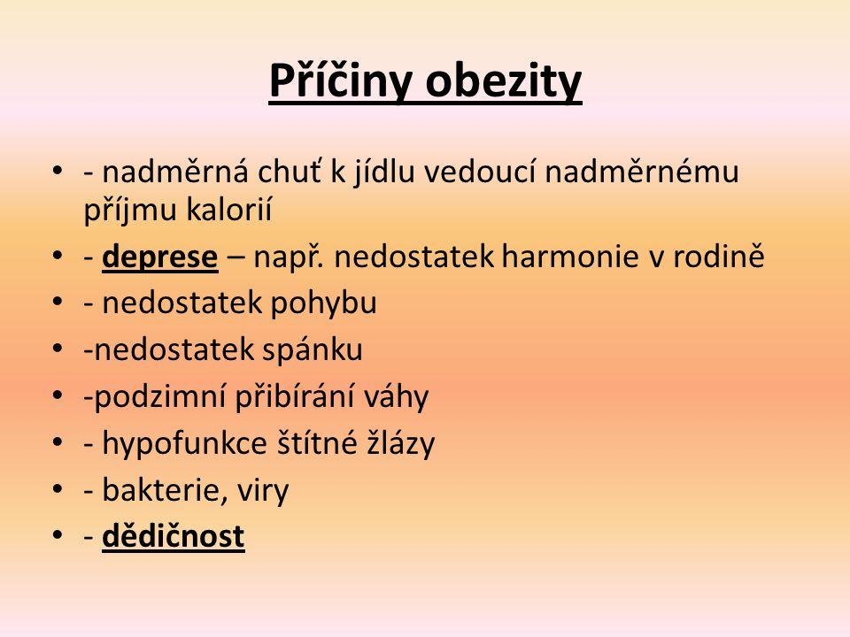 Příčiny obezity - nadměrná chuť k jídlu vedoucí nadměrnému příjmu kalorií - deprese – např.