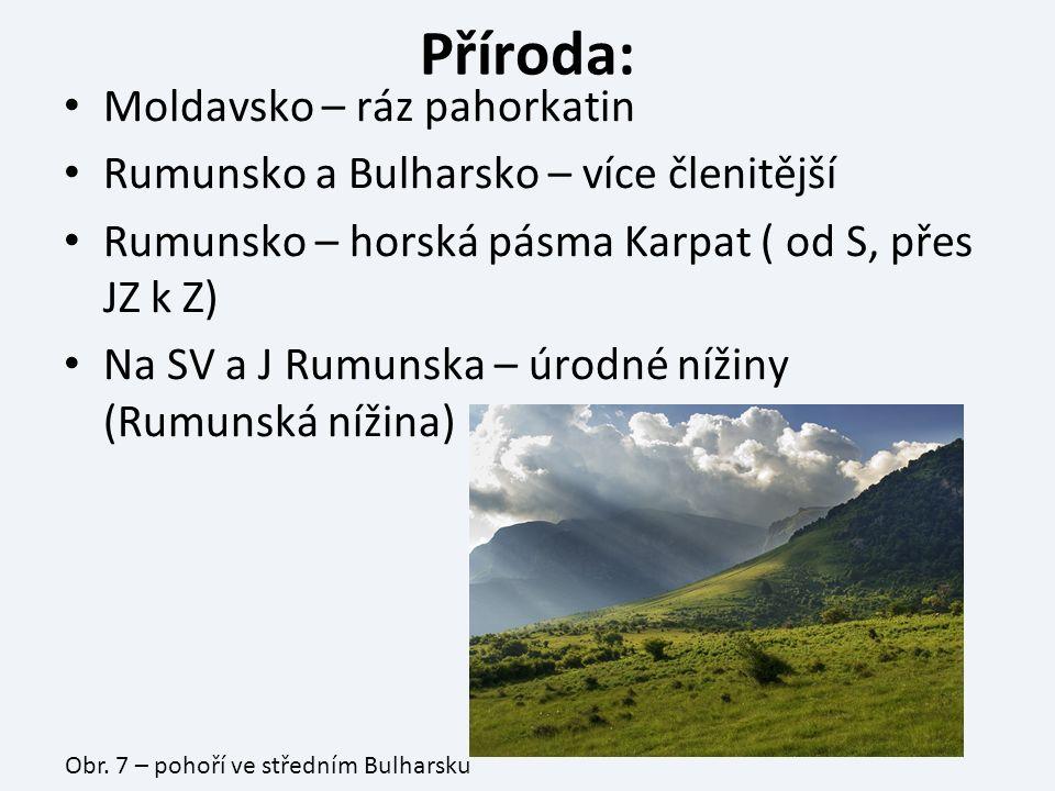 Příroda: Moldavsko – ráz pahorkatin Rumunsko a Bulharsko – více členitější Rumunsko – horská pásma Karpat ( od S, přes JZ k Z) Na SV a J Rumunska – úrodné nížiny (Rumunská nížina) Obr.