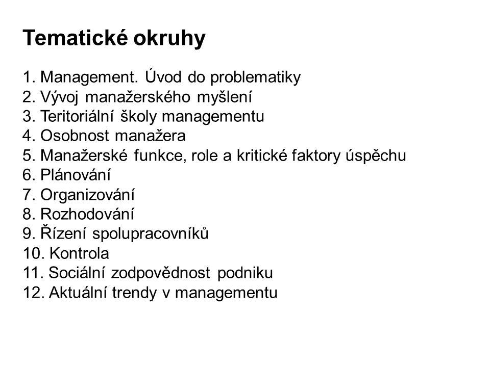 Tematické okruhy 1. Management. Úvod do problematiky 2. Vývoj manažerského myšlení 3. Teritoriální školy managementu 4. Osobnost manažera 5. Manažersk