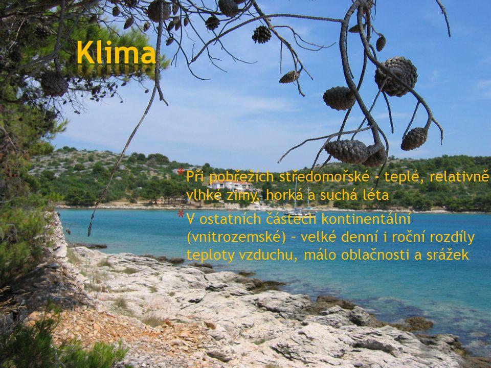 * Při pobřežích středomořské - teplé, relativně vlhké zimy, horká a suchá léta * V ostatních částech kontinentální (vnitrozemské) – velké denní i roční rozdíly teploty vzduchu, málo oblačnosti a srážek