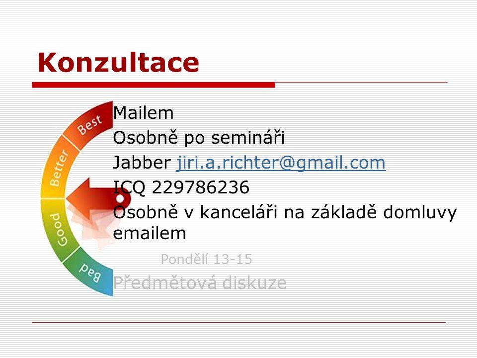 Konzultace Mailem Osobně po semináři Jabber jiri.a.richter@gmail.comjiri.a.richter@gmail.com ICQ 229786236 Osobně v kanceláři na základě domluvy emailem Pondělí 13-15 Předmětová diskuze