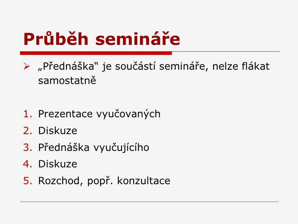 """Průběh semináře  """"Přednáška je součástí semináře, nelze flákat samostatně 1.Prezentace vyučovaných 2.Diskuze 3.Přednáška vyučujícího 4.Diskuze 5.Rozchod, popř."""