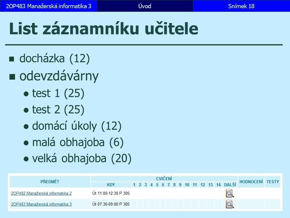 ÚvodSnímek 182OP483 Manažerská informatika 3 List záznamníku učitele docházka (12) odevzdávárny test 1 (25) test 2 (25) domácí úkoly (12) malá obhajoba (6) velká obhajoba (20)