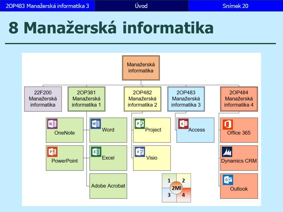 ÚvodSnímek 202OP483 Manažerská informatika 3 8 Manažerská informatika