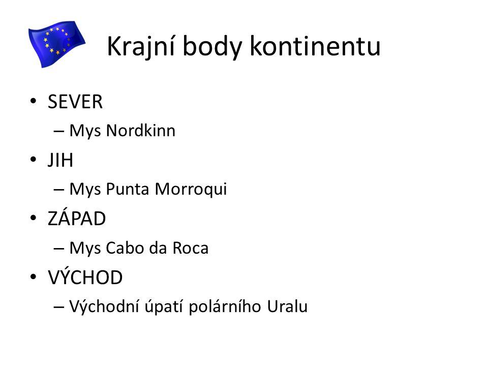 Krajní body kontinentu SEVER – Mys Nordkinn JIH – Mys Punta Morroqui ZÁPAD – Mys Cabo da Roca VÝCHOD – Východní úpatí polárního Uralu