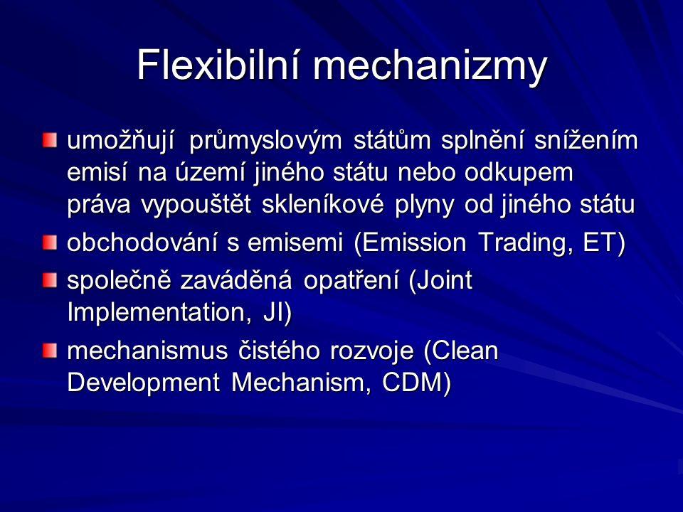 Flexibilní mechanizmy umožňují průmyslovým státům splnění snížením emisí na území jiného státu nebo odkupem práva vypouštět skleníkové plyny od jiného státu obchodování s emisemi (Emission Trading, ET) společně zaváděná opatření (Joint Implementation, JI) mechanismus čistého rozvoje (Clean Development Mechanism, CDM)