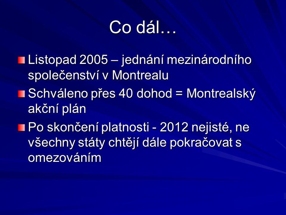 Co dál… Listopad 2005 – jednání mezinárodního společenství v Montrealu Schváleno přes 40 dohod = Montrealský akční plán Po skončení platnosti - 2012 nejisté, ne všechny státy chtějí dále pokračovat s omezováním