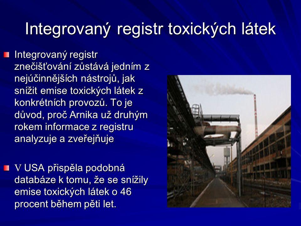 Integrovaný registr toxických látek Integrovaný registr znečišťování zůstává jedním z nejúčinnějších nástrojů, jak snížit emise toxických látek z konkrétních provozů.