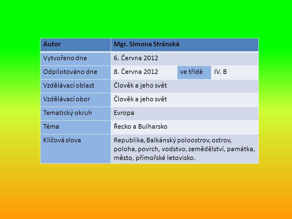 AutorMgr. Simona Stránská Vytvořeno dne6. Června 2012 Odpilotováno dne8.