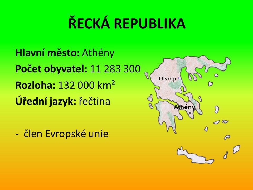 ŘECKÁ REPUBLIKA Hlavní město: Athény Počet obyvatel: 11 283 300 Rozloha: 132 000 km² Úřední jazyk: řečtina - člen Evropské unie Athény Olymp
