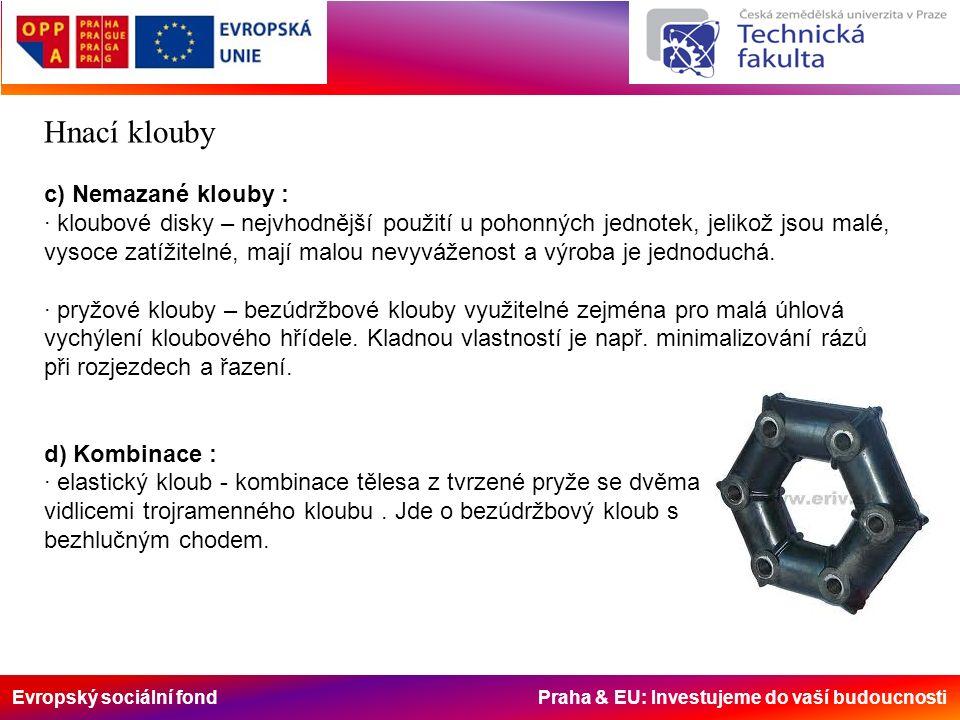 Evropský sociální fond Praha & EU: Investujeme do vaší budoucnosti Hnací klouby c) Nemazané klouby : · kloubové disky – nejvhodnější použití u pohonných jednotek, jelikož jsou malé, vysoce zatížitelné, mají malou nevyváženost a výroba je jednoduchá.