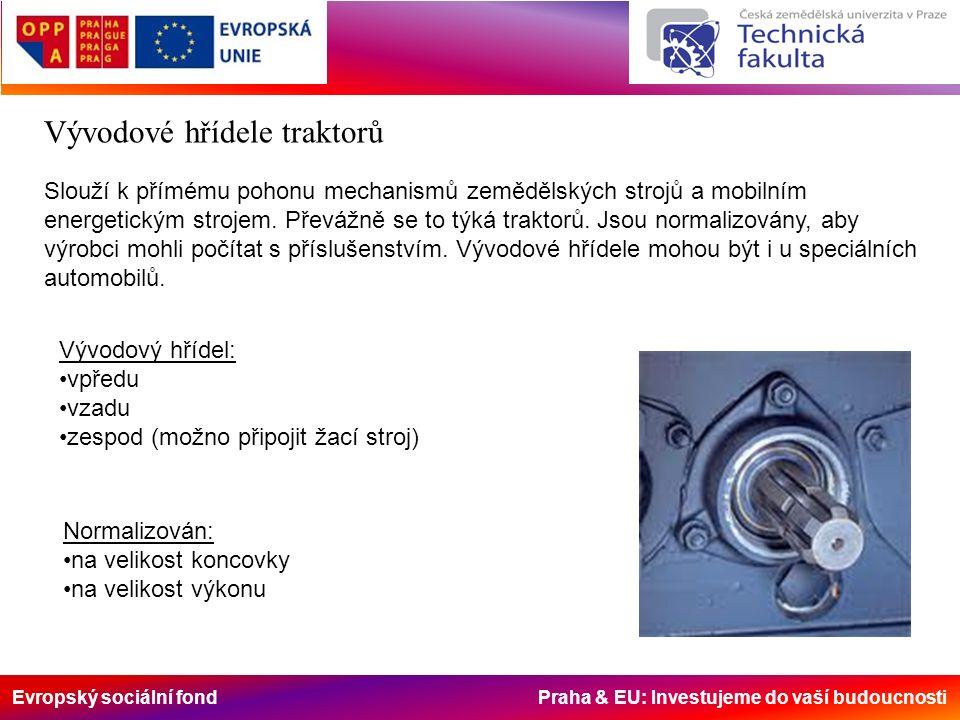 Evropský sociální fond Praha & EU: Investujeme do vaší budoucnosti Vývodové hřídele traktorů Slouží k přímému pohonu mechanismů zemědělských strojů a mobilním energetickým strojem.